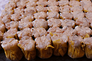 uncooked Siu Mai Making